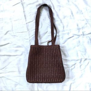 VINTAGE Nine West woven shoulder tote bag purse